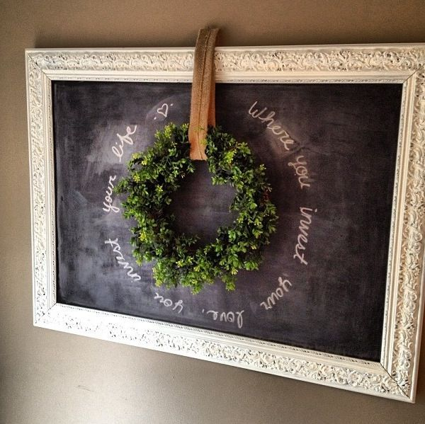 Love this for the hallway upstairs!! Gotta find a cool chalkboard or cool vintage frame to make a chalkboard with!