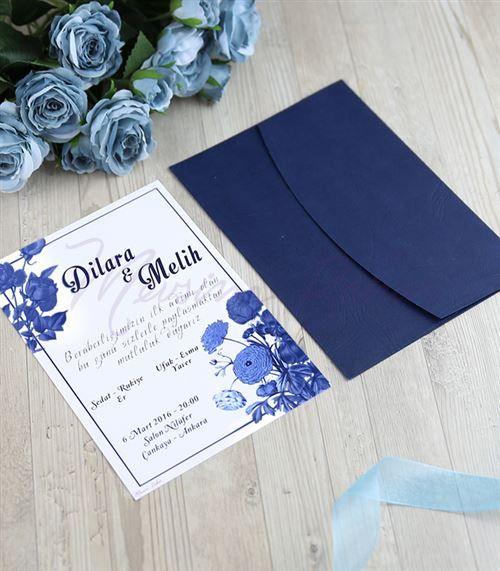 Düğün Davetiyesi Mavi Rüya