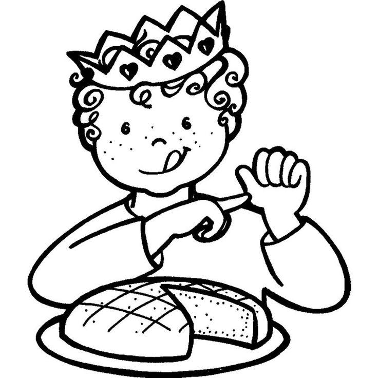 Coloriage Enfant et Galette des Rois a Imprimer Gratuit