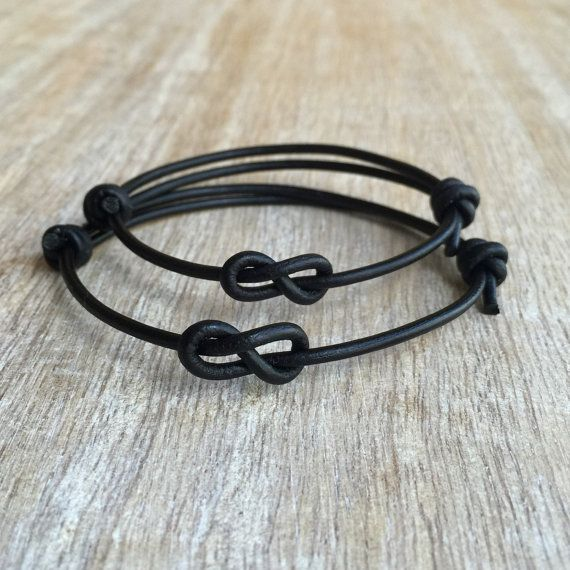 Simple Bracelet Black Leather Bracelets Couple by Fanfarria