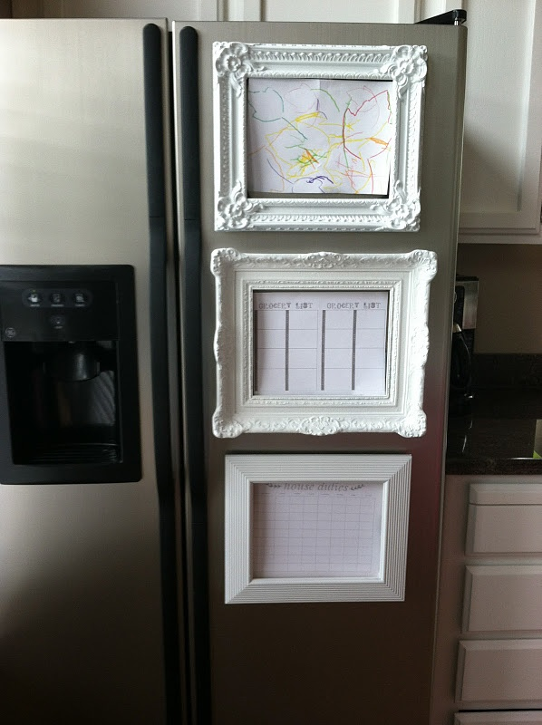 DIY frame magnets -- made from cheapies found at Goodwill and spray-painted white!
