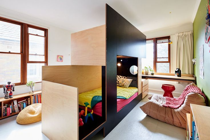 Such a cool idea to build a bunk bed. The Togo Sofa does the rest. Great inspiration for a kids room.  #BunkBed #ModernBedroom #KidsBedroom