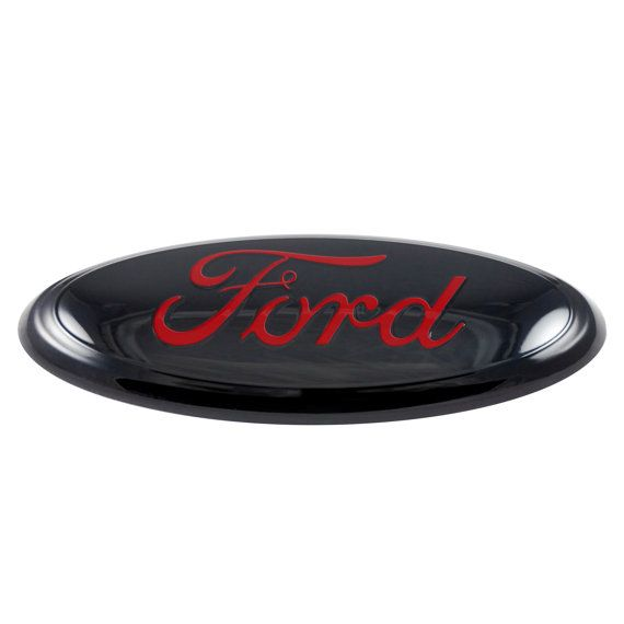 Customize your ride with this classy black and red Ford emblem!