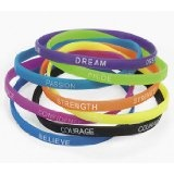 Lot of 12 Thin Inspirational Saying Rubber Bracelets