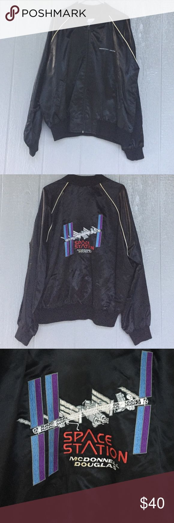 Vintage High five sportswear bomber jacket McDonnell Douglas with space station the the back high five sportswear Jackets & Coats Bomber & Varsity