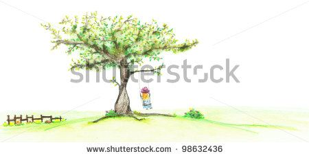 hand drawing spring tree with blondie girl on a swing