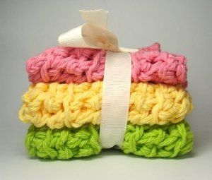 """Set G - Crochet Cloths Handmade Towels by FogBank. $6.95. 100% Cotton. Machine Washable. Eco Friendly. Set of three. Measures 7""""x7"""". Handmade Crochet Cloths. Great for use as washcloths or finger towels. 100% USA Grown Cotton is machine washable. A great eco-friendly alternative to costly paper towels."""