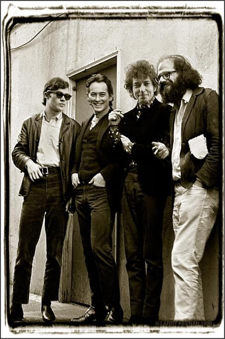 Robbie Robertson, Michael McClure, Bob Dylan, and Allen Ginsberg, San Francisco, 1965
