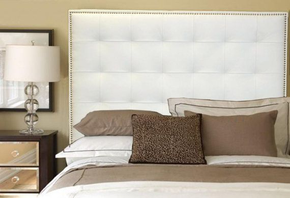 King Size White Leather Buttonless Tufted Headboard with Nail Head Trim  Sophisticated transitional to contemporary King size leather headboard,