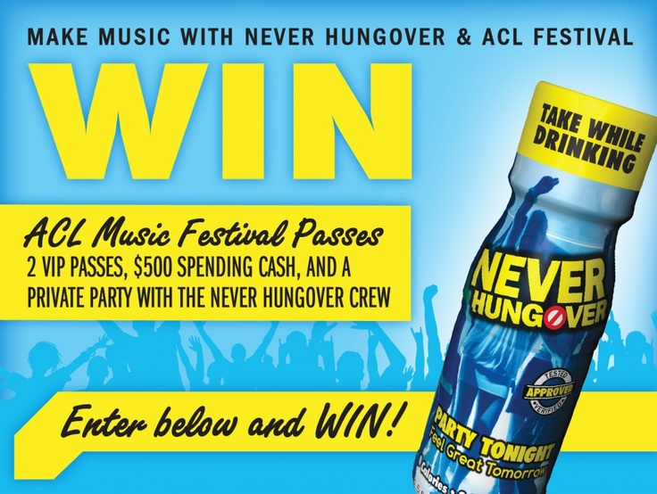 #NeverHungover is giving away 2 VIP Austin City Limits Music Festival passes, $500 Spending Cash, and a private party during #ACL. #Austin #Music