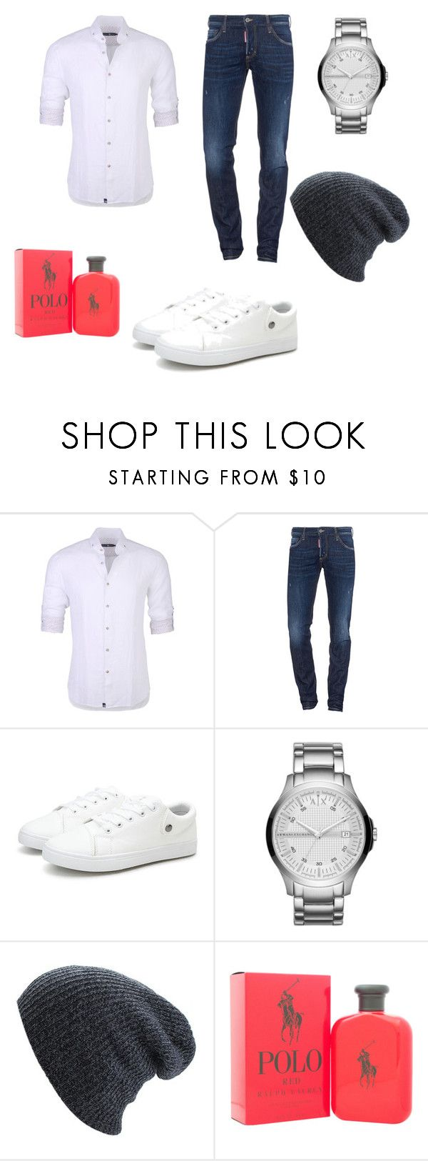 """""""so hot"""" by cleopatrameow ❤ liked on Polyvore featuring Stone Rose, Dsquared2, Armani Exchange, Ralph Lauren, men's fashion and menswear"""