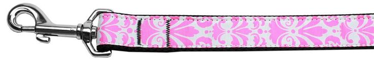 Damask Nylon Dog Leash 6 Foot Light Pink