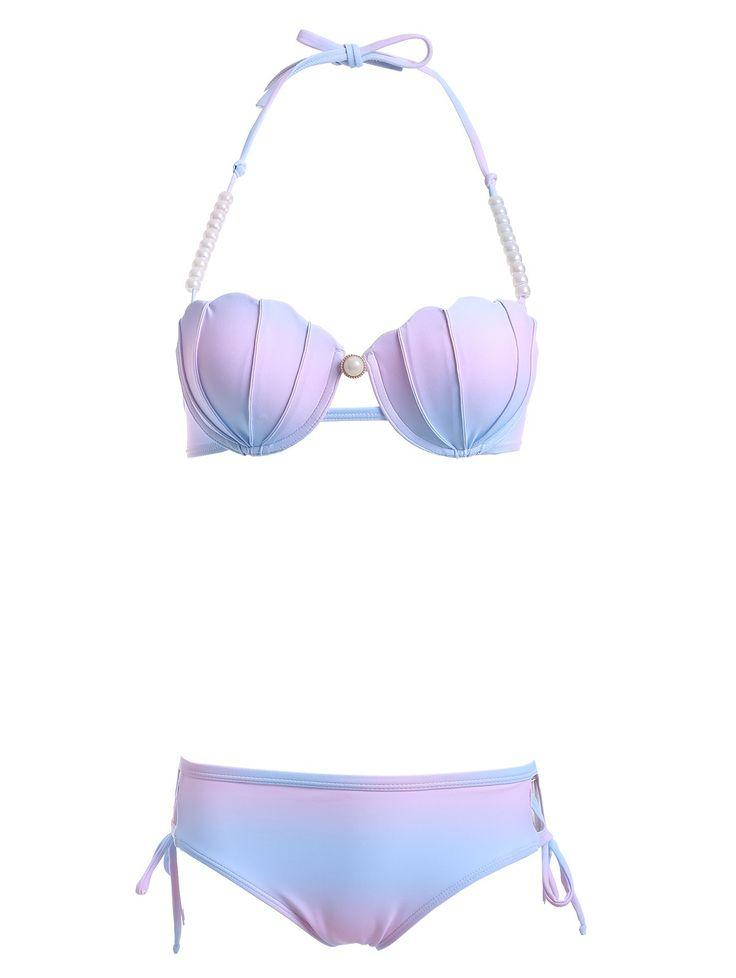 Stylish Halter Neck Beaded Ombre Design Bikini Set