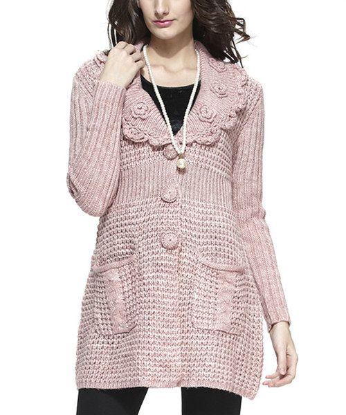 Look at this Simply Couture Mauve Rosette Wool-Blend Cardigan on #zulily today!