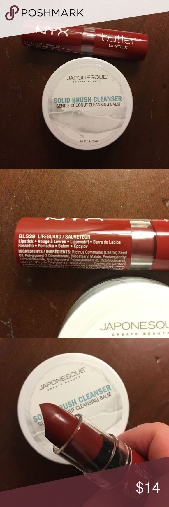 NYC Lipstick and Japonesque Makeup brush cleaner Full-size NYX Butter Lipstick and 0.5 oz Japonesque solid brush cleanser. Neither have been opened nor used. The color of the lipstick is a pretty deep red. NYX Makeup Lipstick