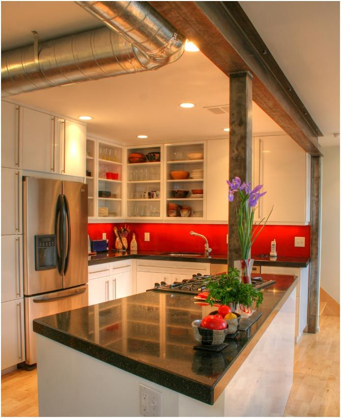 Awesome Red Backsplash Design Mixed With Granite Countertop And Modern  Kitchen Remodel