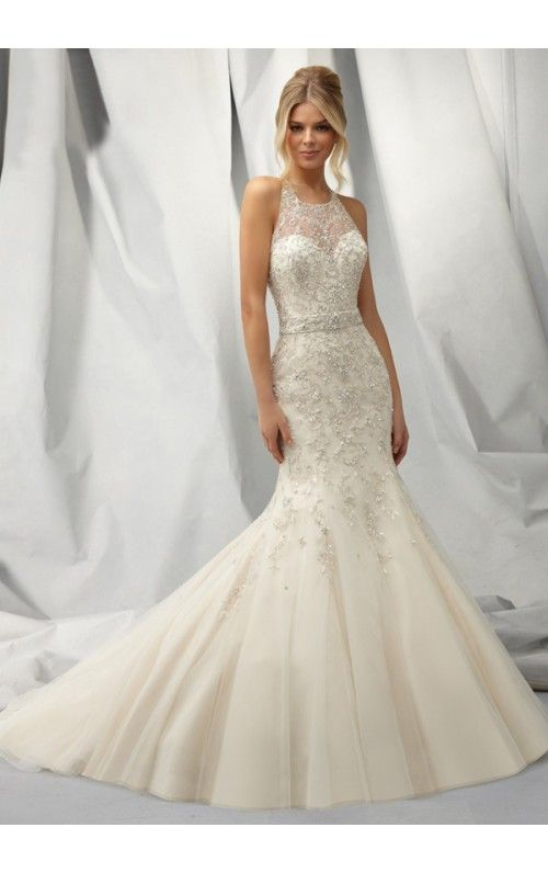 Mermaid Round Appliqued BeadedButton Back Tulle Chapel Train Wedding Dresses