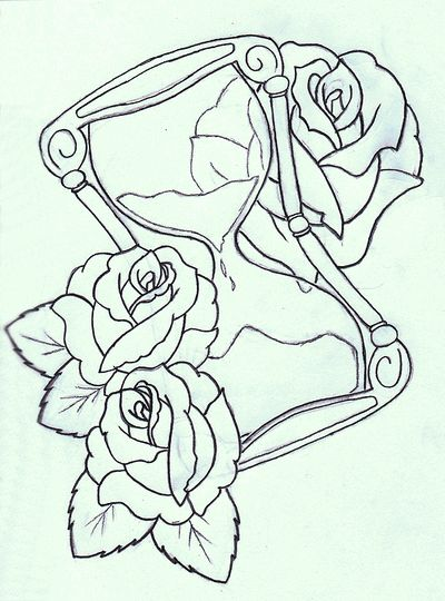 Black Hourglass With Roses Tattoo Stencil