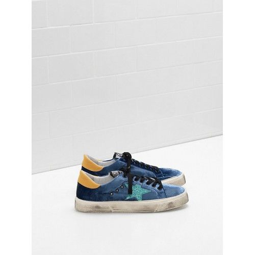 Vente Chaussure GGDB 2017 Golden Goose DB May Femme Sneakers Bleu Jaune