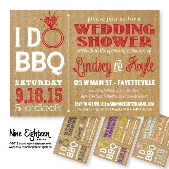 I Do BBQ Wedding Shower Barbeque Bridal Shower by NineEighteen, $12.00
