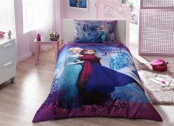 Lenjerie de pat din bumbac pentru copii Frozen Ana si Elsa