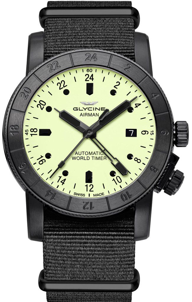 Glycine Watch Airman 42 Pre-Order #add-content #basel-17 #bezel-bidirectional #bracelet-strap-synthetic #brand-glycine #case-material-black-pvd #case-width-42mm #date-yes #delivery-timescale-call-us #dial-colour-yellow #gender-mens #gmt-yes #luxury #movem