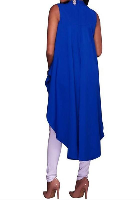 161d4404a86b80 Blue Irregular Swallowtail Draped High-low Band Collar Oversize Casual T- Shirt in 2018 | casual outfits | Pinterest | Casual, Casual outfits and  Casual t ...
