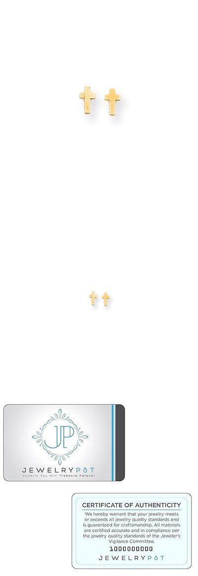 Earrings 98476: 14K Yellow Gold Polished Tiny Cross Screw Back Earrings (6Mm X 4Mm) -> BUY IT NOW ONLY: $31.99 on eBay!