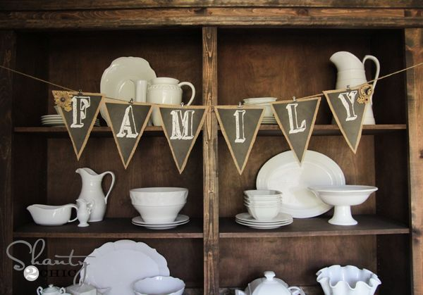 Free Printable bunting Chalkboard letters - love these!