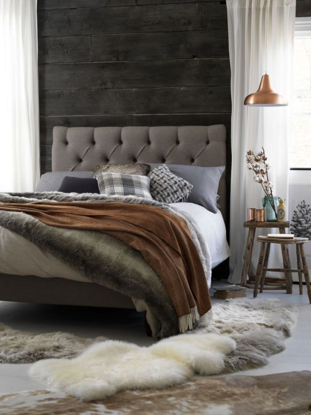Set off a new bedstead with layers of warm blankets, bedspreads and faux fur throws for a hygge feel this autumn. (Foxtail upholstered bedstead in Elk, £825, Button & Sprung). Find more bedroom and hygge ideas and inspiration at housebeautiful.co.uk