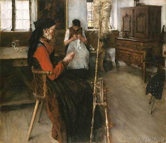 Wilhelm Maria Hubertus Leibl - Die Spinnerin