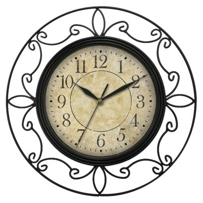 "Wrought Iron Wall Clock - Black (14"")."