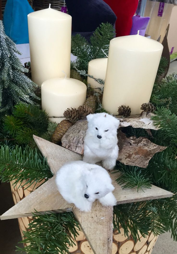 Adventskranz Polarbär Avent wreath white bear