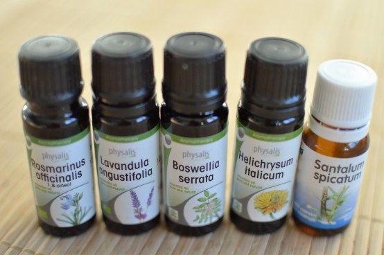Essentiële oliën: Rozemarijn, lavendel, wierook, strobloem en sandelhout!