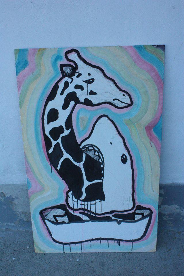 shark, giraffe, paint, colorfull, sticker
