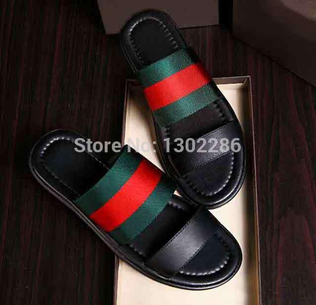 Nuovo modo di estate sandali in vera pelle mocassini uomini piatto pantofole da uomo casuale vibrazione piatto di cadute sandali da uomo blu nero  (China (Mainland))