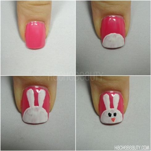 Bunny nails - awww Now I'm torn between this & the braided nails for Easter...