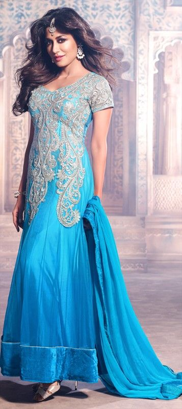 412707, Bollywood Salwar Kameez, Net, Stone, Patch, Thread, Machine Embroidery, Blue Color Family