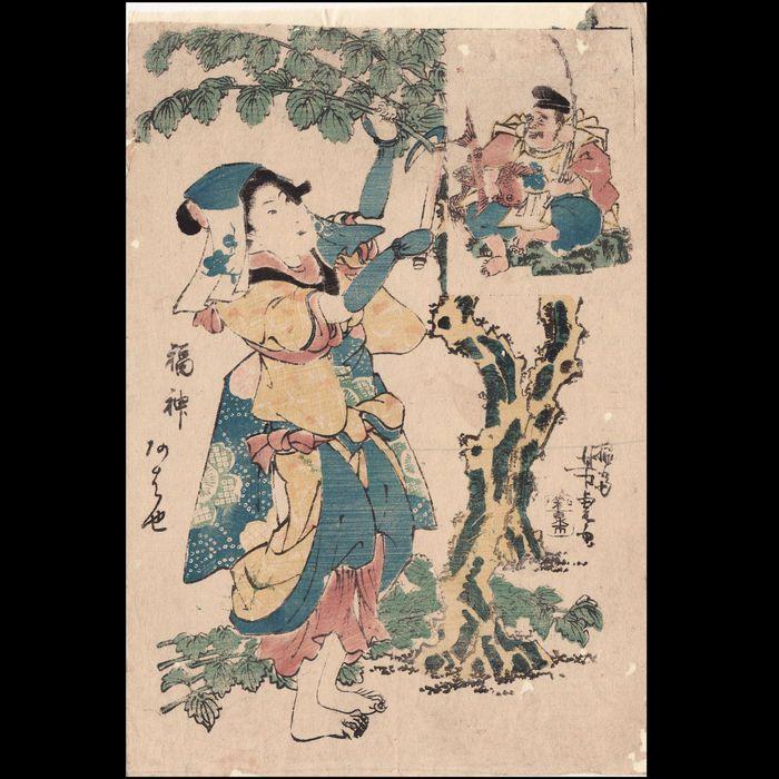 """Originele grote woodblock print """"The MulberryTree oogsten"""" door Yoshitora (fl.1830-1880) - Japan - ca. 1840  Grote originele Japanse houtblokschilderij """"The MulberryTree oogsten"""" door Utagawa Yoshitora (fl. 1830-1880).Op een dunne washi papier verdubbeld met een dunne Japanse washi papier professioneel (herstellen van sommige kleine worm-schade bij rechtsboven en rechts).Kale-voet traditioneel geklede vrouwelijke boer snijden een takken van de moerbeiboom met een bedrukte insert rechtsboven…"""