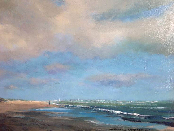 zeegezicht op vlieland door herman dasselaar acryl on canvas 40x50cm for sale seascape. Black Bedroom Furniture Sets. Home Design Ideas