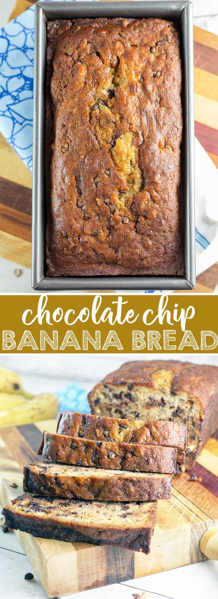 Chocolate Chip Banana Bread: A simple, delicious banana bread, full of chocolate chips and sprinkle of hazelnuts. Ultimate comfort in the form of a quick bread. {Bunsen Burner Bakery} via @bnsnbrnrbakery