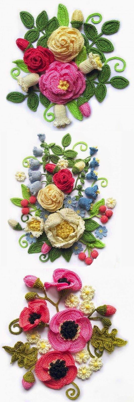 Very beautiful crochet flowers