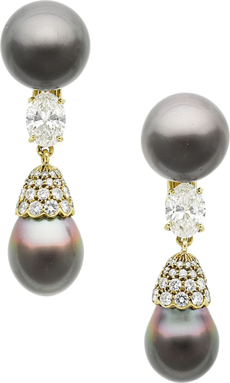 South Sea Cultured Pearl ~ Diamonds and Gold Earrings