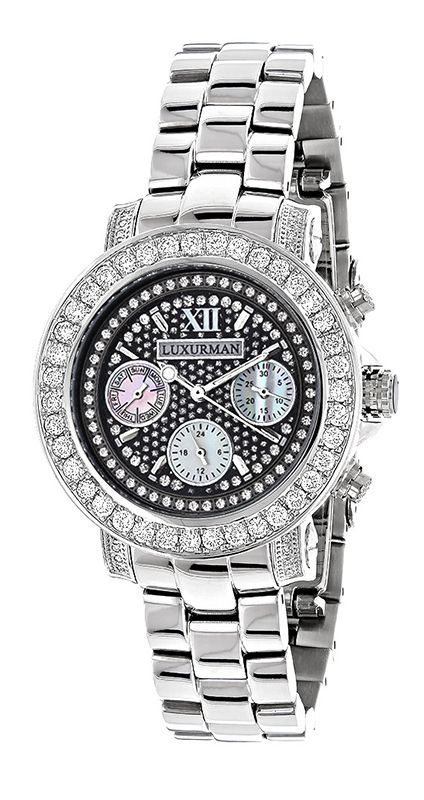 Designer Luxurman Watches: This Ladies Montana Diamond Watch features 3 carats of genuine diamonds masterfully set on the bezel and lugs of the silver tone stainless steel case. The Black mother of pearl dial has three chronograph subdials and is paved in white stones.