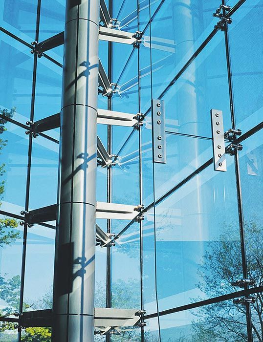 structural glass walls, safety laminated glass walls, stainless steel glass exterior walls