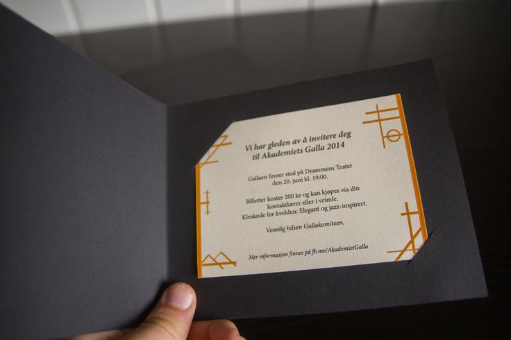 Invites for Akademiet's Galla 2014. The invites for nominees were cut out by hand and placed inside a black cardboard cover, where as the rest of Akademiet only got the paper inside.