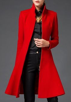 Stylish Stand-Up Collar Long Sleeve Flounced Solid Color Coat For Women