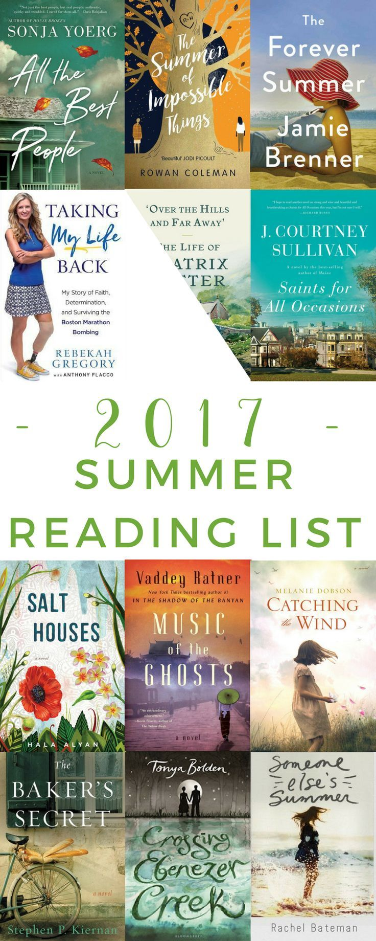 My top book selections for my 2017 summer reading list. Includes chick lit, adult fiction, historical fiction, biographies, and more so there is something to please every reader.