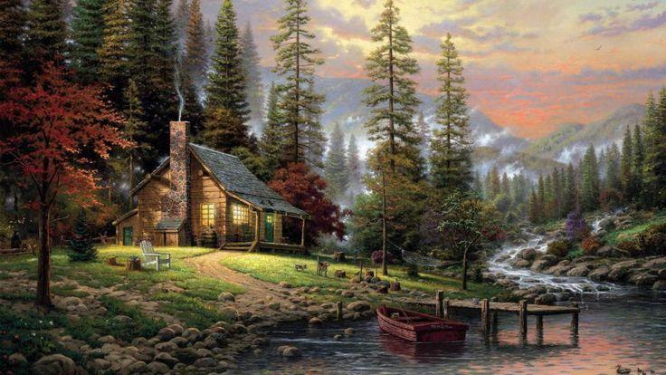 thomas Kincaid, stille bos, huis, hond, landschap