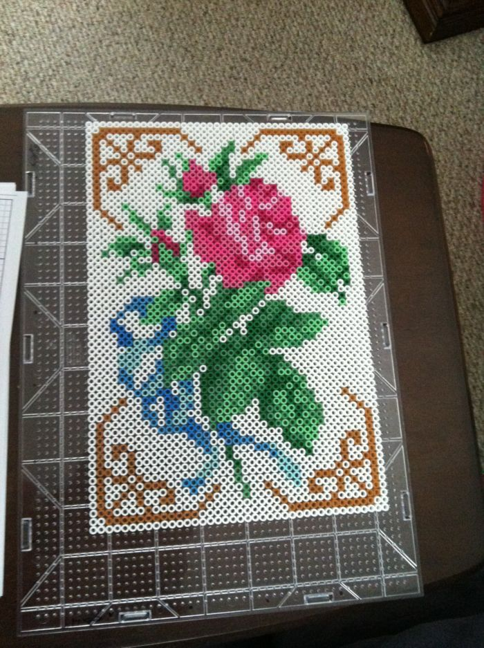 Rose flower perler beads by icrama